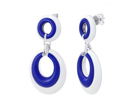 Серьги с бело-синей эмалью