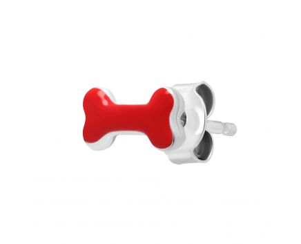 Моно-сережка з емаллю червоного кольору
