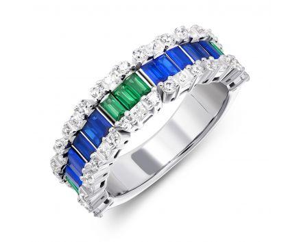 Каблучка срібна з синіми та зеленими фіанітами