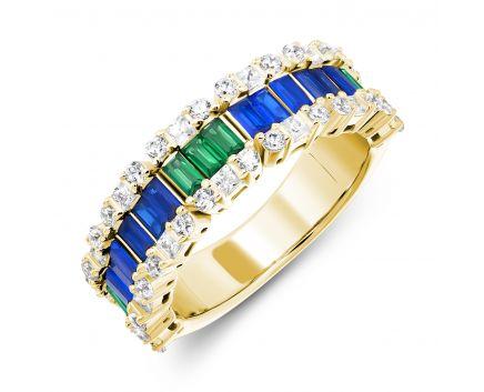 Каблучка срібна с синіми і зеленими фіанітами жовтий подій