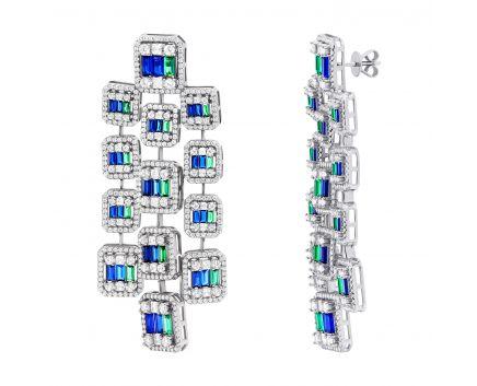 Сережки з синіми та зеленими фіанітами