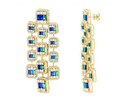 Сережки з синіми та зеленими фіанітами жовтий родій