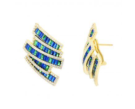 Сережки з синіми та зеленими фіанітами Святкові