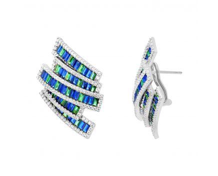 Сережки з синіми та зеленими фіанітами білий родій