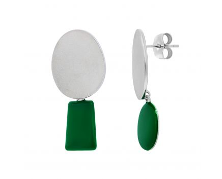 Сережки срібні з емаллю асиметричні