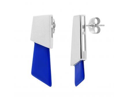 Сережки з синьою емаллю