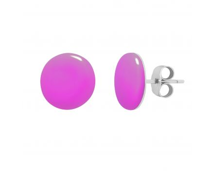 Сережки гудзики темно-рожева емаль