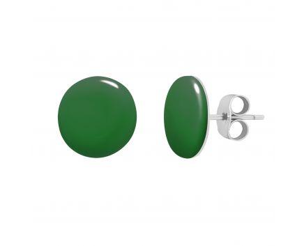 Сережки гудзики зелена емаль