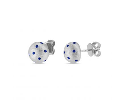 Сережки срібні з синіми фіанітами