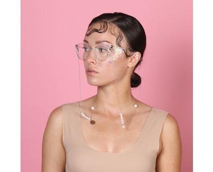 Кольє-ланцюжок для окулярів з перлами та монетками