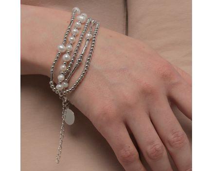 Браслет срібний з перлами та монеткою для гравіювання