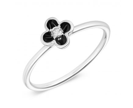 Каблучка з діамантом та чорним родієм Квітка