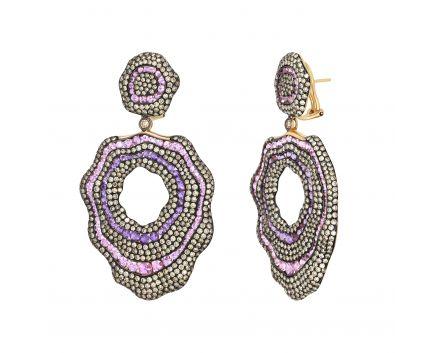 Сережки з коньячними діамантами, аметистами та рожевими сапфірами