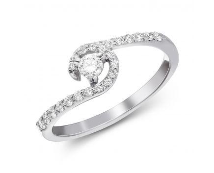 Каблучка з діамантами у білому золоті Лілія