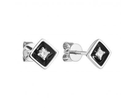 Сережки з діамантами та чорним родієм