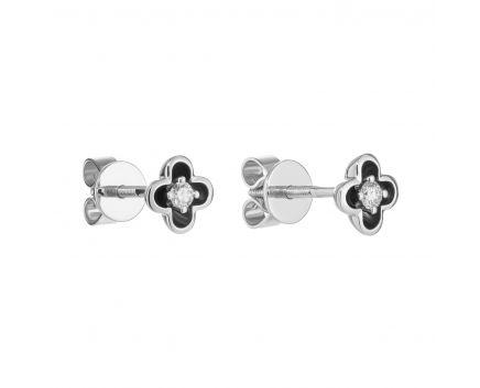 Сережки з діамантом Квітка