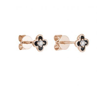 Сережки з рожевого золота з діамантом та чорним родієм Квітка