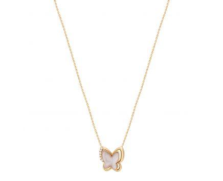 Кольє Перламутровий метелик з діамантами