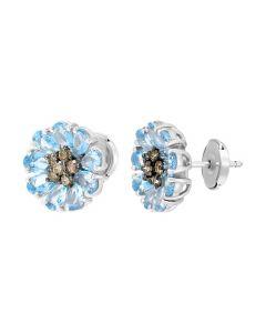 Сережки з коньячними діамантами і топазами Блакитні ромашки