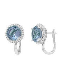 Сережки з топазами та діамантами по колу