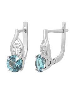 Сережки з діамантами та топазами у білому золоті