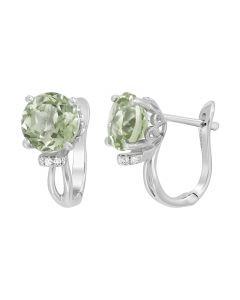 Сережки з зеленим кварцем та діамантами