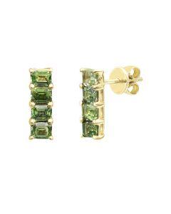 Сережки з жовтого золота з діамантами та сапфірами ZARINA