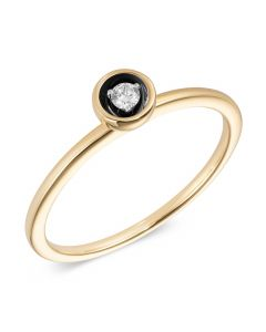 Кольцо бриллиантовое из желтого золота с черным родием