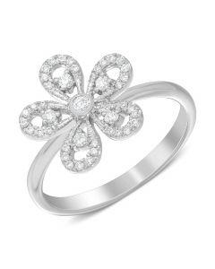 Каблучка квітка з діамантами в білому золоті