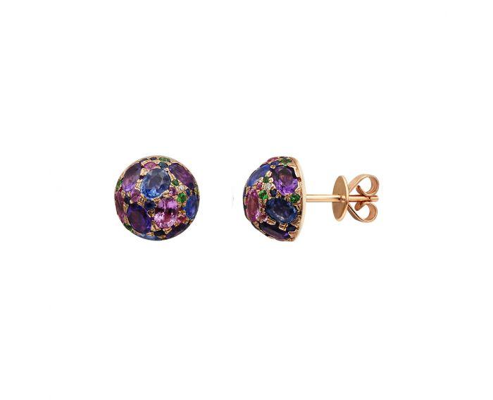 Сережки з рожевого золота з діамантами, сапфірами та аметистами  ZARINA