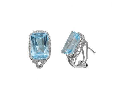 Сережки з білого золота з діамантами та топазами