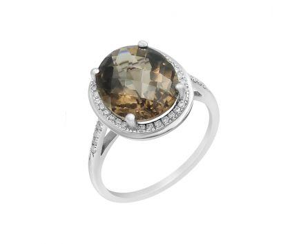 Каблучка з білого золота з діамантами та димчатим кварцем