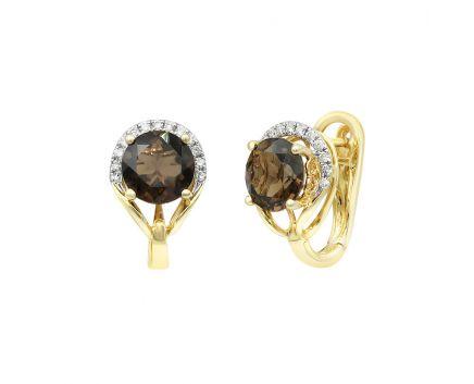 Сережки з жовтого золота з діамантами та димчатим кварцем