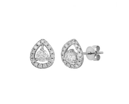 Сережки з білого золота з діамантами