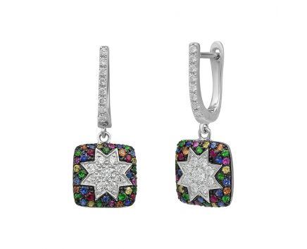 Сережки з білого золота з діамантами, рубінами, сапфірами та цаворитами