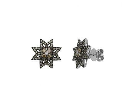 Сережки з білого золота з діамантами ZARINA