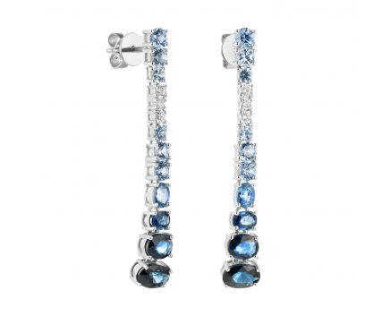 Сережки з білого золота з діамантами та сапфірами ZARINA