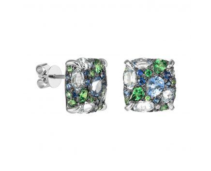 Сережки з білого золота з діамантами, сапфірами та цаворитами ZARINA